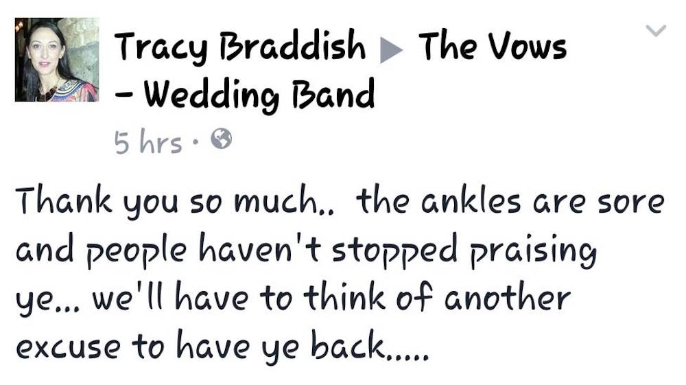 Bride happy with Vows Wedding band
