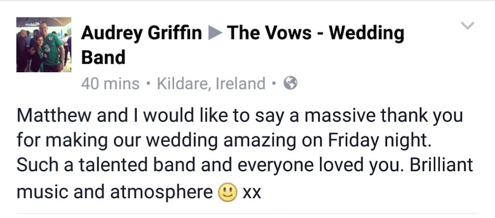 Great wedding music The Vows wedding Band